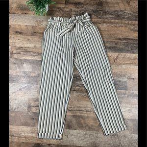 Zara Striped Paper Bag Cuffed pants Size Small